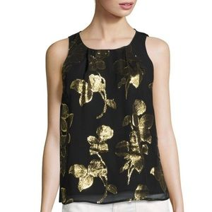 Joie Black Kastra Gold Metallic Silk Floral Tank